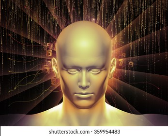 Man of Number series. Composition of human head, numbers and visual elements suitable as a backdrop for the projects on human mind, modern technology, education and science