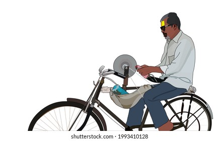 A man on a bicycle sharpening a knife.