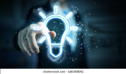 Man on dark background using lightbulb neon digital interface 3D rendering