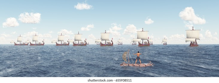 Man on a raft and fleet of ancient Roman warships Computer generated 3D illustration