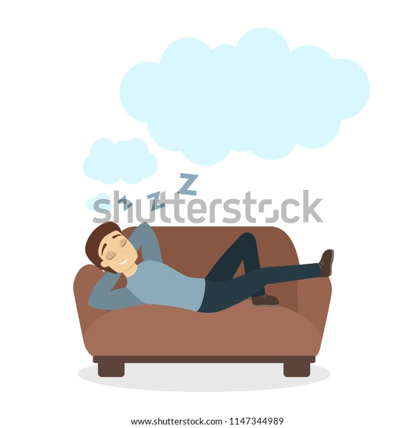 Man on sofa dreaming. White empty clouds.
