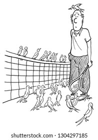 Man on tennis court surrounded by birds