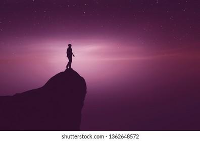 Man on top of a mountain peak,3d rendering
