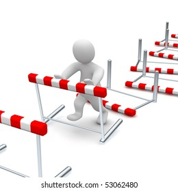 Man overcome or knocking down hurdles. 3d rendered illustration.