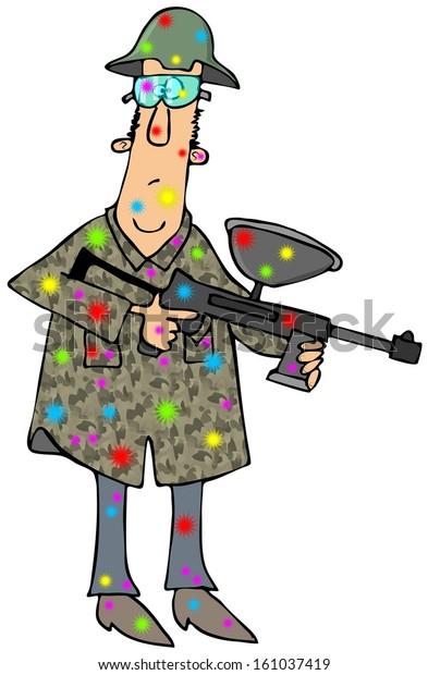 Man Paintball Gun Stock Illustration 161037419