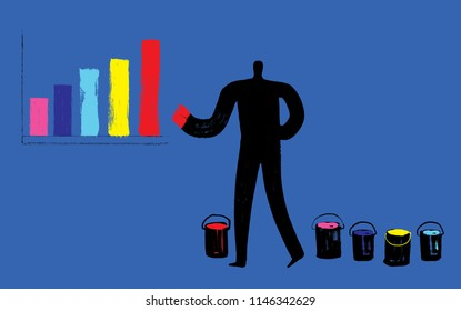 Man Paints Bar Chart Infographic, Person showing Diagram, Paint Texture, Brush Stroke, Business Development Concept, Illustration, Data Analysis, Comparison Graph, Profit, Influencer, Trendsetter