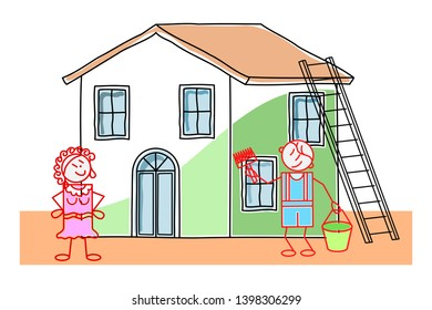 Man Painting Outside House Stock Illustrations, Images & Vectors