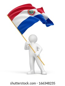 Man and Paraguayan flag (clipping path included)