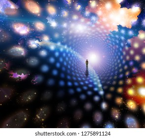 Man path journey to the light. Wormhole in space. 3D rendering