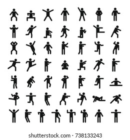 Man people stick icon set. Simple illustration of 50 man people stick  icons for web
