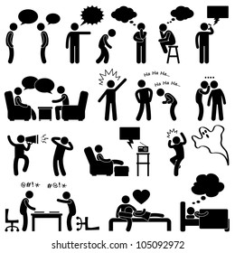 Man People Talking Thinking Conversation Thought Laughing Joking Whispering Screaming Chatting Icon Symbol Sign Pictogram