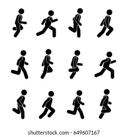 Man people various running position. Posture stick figure. Posing person icon symbol sign pictogram on white