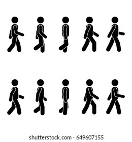 Man people various walking position. Posture stick figure. Standing person icon symbol sign pictogram on white
