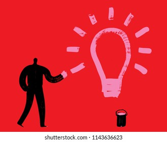 Man with Pink Paint draws Lightbulb, Bright idea concept, creativity, imagination, Arty people, Brush Stroke texture, Electricity, Strategy, Brain wave, Inspiration, Discovery, Learning, Innovator