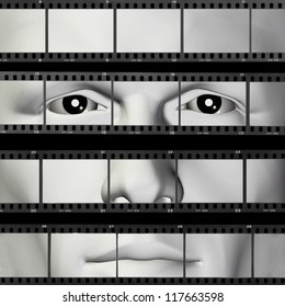 Man portrait on contact sheet filmstrip photo background. 3d illustration.