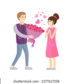 Man presenting luxury bouquet of flowers to woman raster illustration dating couple in love isolated on white background