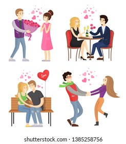 Man presenting luxury bouquet of flowers to woman couple in restaurant lovers hugging on bench holding hands raster cartoon characters isolated set