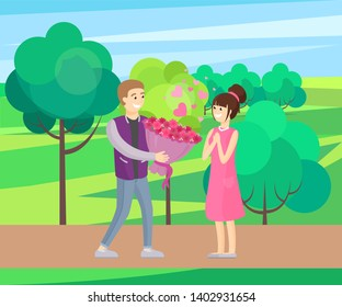 Man presenting luxury bouquet of flowers to woman raster illustration dating couple in love green park spring scenery landscape