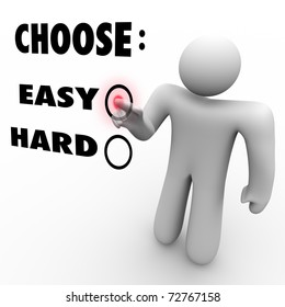 A man presses a button beside the word Easy when asked to choose a difficulty level