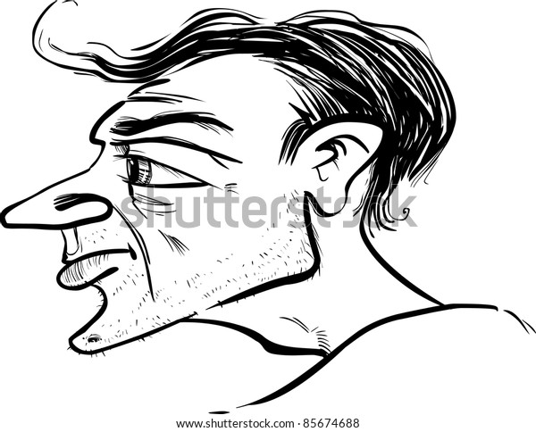 man profile caricature sketch illustration