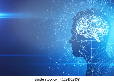 Man profile silhouette with abstract polygonal brain on blue background. Artificial intelligence and brainstorm concept. 3D Rendering