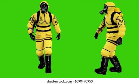 Man in protective hazmat walking on green screen background. 3D rendering
