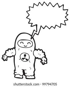man in protective suit cartoon