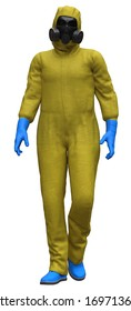 Man In Protective Suit is Walking (3-D-Illustration)