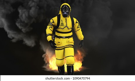 A man in a protective suit walks against the background of smoke and explosions. 3D rendering
