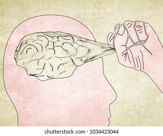 man pull out brain digital illustration