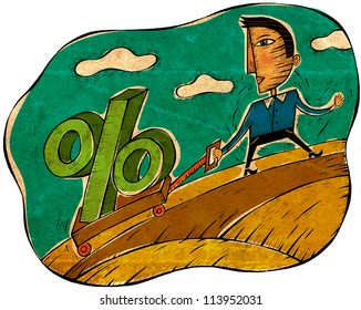 A man pulling a wagon with a percentage sign on it