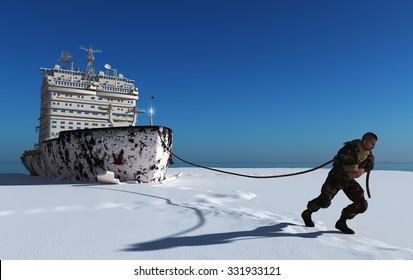 Man pulls a rope icebreaker.