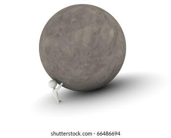 man pushing a big ball of stone