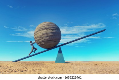 Man pushing a big rock sphere on balance . The concept of ambition and overcoming obstacles . This is a 3d render illustration