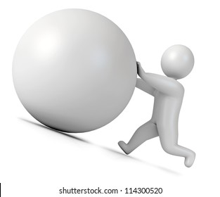 Man pushing a boulder as Sisyphus. Isolated on white background. 3d render