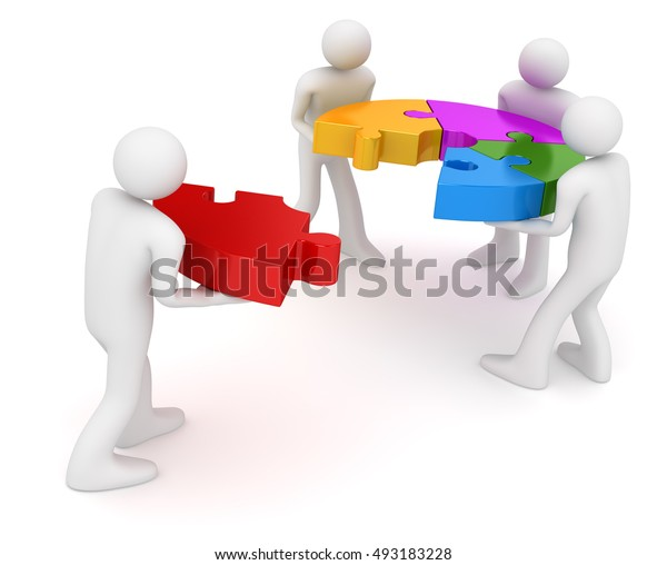 Man pushing the final piece of puzzle , This is a 3d rendered computer generated image. Isolated on white.