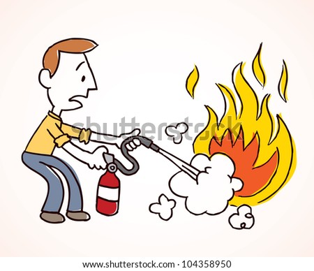man putting out fireのイラスト素材 104358950 shutterstock