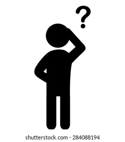 Man with question mark flat icon pictogram isolated on white background