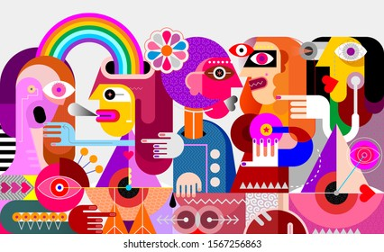 A man with a rainbow from his head rides a geometric bird. People gossip and point fingers to him. Abstract modern graphic art.