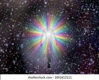 Man in rainbow light and stars. 3D rendering