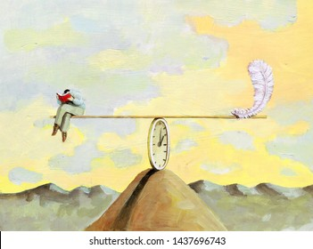 man reads a book in balance on an axis the 'axis' held in equilibrium by a clock and a feather acts as a counterweight allegory of light flying time when reading a good book