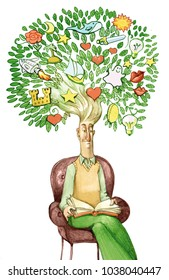 man reads sitting on armchair by his hair grows tree full of dreams and thoughts reading that develops creativity thinking
