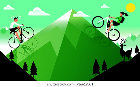 Man with regular Bicycle and Woman with Electric Bicycle climbing Mountain