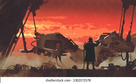 man repairing a futuristic vehicle in factory at sunset, digital art style, illustration painting