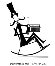 Man rests in the rocking chair and listens a radio isolated illustration. Long mustache man in the top hat sits in the rocking chair and listens a radio black on white