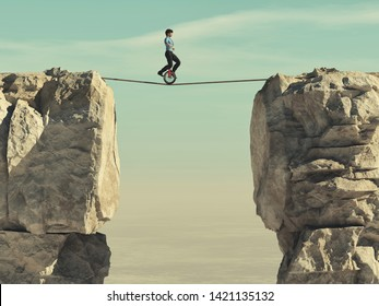 Man ride a mono cycle and balancing a slackline between two mountain peaks. This is a 3d render illustration