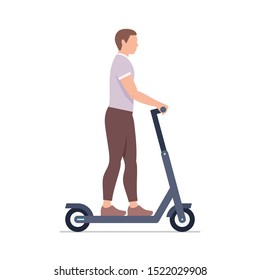 Man riding an electric scooter. isolated on white background