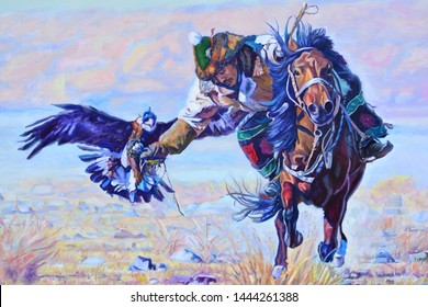 man riding a horse with an eagle from Kazakhstan