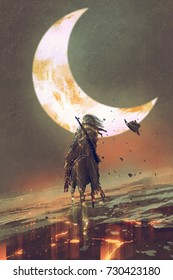 man riding horse shattered into pieces under the moon, digital art style, illustration painting