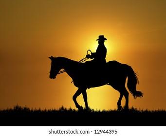man riding horse at sunset